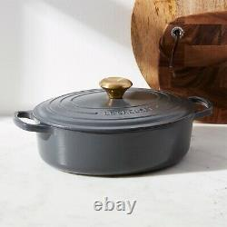 New Le Creuset Signature 3.5-Qt. Graphite Grey Oval Wide Dutch Oven FREE Ship 27