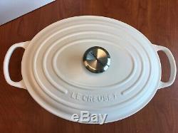 New Le Creuset Signature Cast Iron Oval Dutch Oven size 31 6.75 qt Matte White