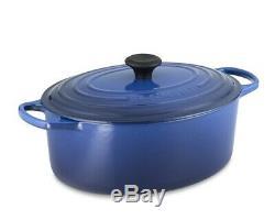 New Le Creuset Signature Oval Cast Iron Dutch Oven 9.5 qt sz 35 Lapis Navy Blue