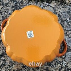 New Staub 5 Quart Pumpkin Cast Iron Cocotte Oven Burnt Orange Made in France