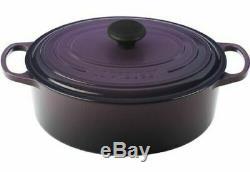 Nib Le Creuset Cassis Purple Signature Iron Cast Oval Dutch Oven 9.5 Qt Rare
