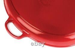 Nib Le Creuset Extra Large 15.75 Cerise Cherry Red Cast Iron Oval Skillet Rare