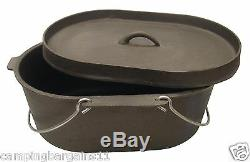 Oval Cast Iron Dutch Camp Oven 9.5 Quart Lipped Lid Cooking Camping Caravan 4WD