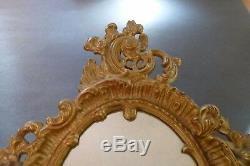 Oval Mirror Cast Iron Gold Acanthus Leaf Antique
