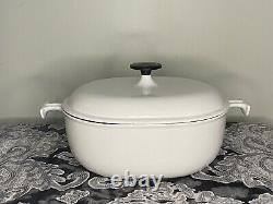RARE! Le Creuset Cast Iron Set 29 Oval Enzo Mari La Mama White Roaster Vintage
