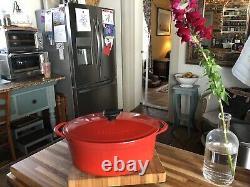 RARE Le Creuset Cousances 6 Quart Red Oval Dutch Oven NIB