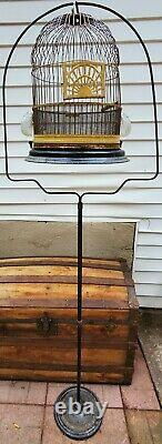 RARE Metal & Cast Iron Bird Cage Patented Juneteenth 1934 w2 Glass Bowls & Stand