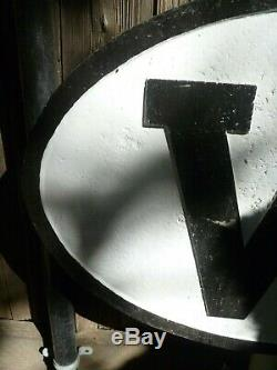Railroad Sign W WHISTLE SIGN Cast Iron 30.0 wide x 20.0 high Oval