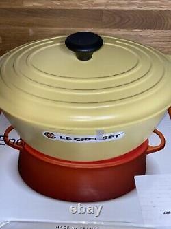 Rare Color Creuset Cast Iron Oval Wide 63/4 Quart Dutch Oven Mimosa Matte Finish