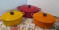 Rare G Vintage Le Creuset Enamel Cast Iron Oval Dutch Oven 7.5 Qt Dark Solid Red