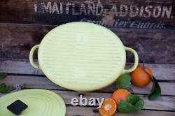 Rare Vintage Le Creuset Cast Iron Elysses Pale Yellow Oval Dutch Oven A Ribbed B