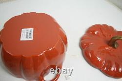 STAUB 11124806 Cast Iron Pumpkin Cocotte Dutch Oven w Lid 3.5 Quart Burnt Orange
