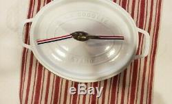 STAUB 1123102 Cast Iron Coq au Vin Cocotte, 5.75-quart, White Oval