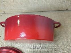 STAUB #27 BASIX Red OVAL CAST IRON DUTCH OVEN CASSEROLE SOUP POT LID 4QT Rooster