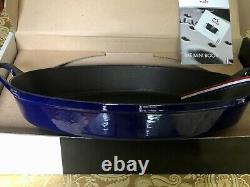 STAUB Cast Iron Oval Oven Dish Dark Blue BRAND NEW IN BOX 4 Qt + BONUS Book