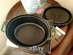 STAUB OVAL COCOTTE 29cm-4.25qt-11 3/8 inches Basil Green with original box