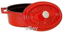 Staub 1103306 Cast Iron 7 Quart Oval Cocotte, Cherry