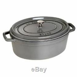 Staub 1103718 Cast Iron Graphite Gray Oval Cocotte, 8.5-QT