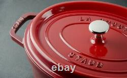 Staub 4.5 Quart Enamelled Cast Iron Oval Cocotte Cherry Red