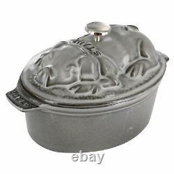 Staub Cast Iron 1-qt Pig Cocotte Graphite Grey