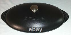 Staub Cast Iron 14.5 x 8.0 OVAL Fish Plate Dish with Lid MATTE BLACK