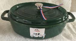Staub Cast Iron 4-qt Oval Wide Cocotte Emerald NEW