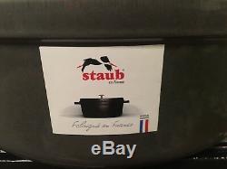 Staub Cast Iron Graphite Gray 4 1/4 Qt Oval Cocotte Dutch Oven France # 29 NIB