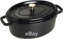 Staub Cast Iron Oval Cocotte, 23 cm Black Matte 1102325