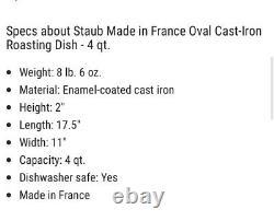 Staub Cast Iron Oval Oven Dish Grenadine (red)NEW 4 Qt