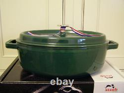 Staub Cast Iron Oval Wide Cocotte, 4Qt, Emerald Green, France, New