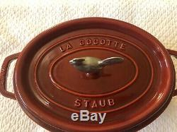 Staub Cast Iron Red 4 1/4 Quart Oval La Cocotte Dutch Oven Rooster France #29