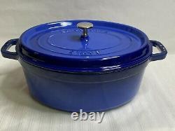 Staub Cast Iron Royal Blue 5.75 Qt Oval La Cocotte Dutch Oven France #31 WithLid