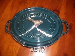 Staub Enameled Cast-iron Oval Coq A Vin 5 3/4 Quart #31 Cocotte La Mer (blue)