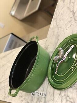 Staub Oval Cocotte 31cm Green Rooster Knob NWOB