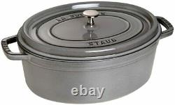 Staub Oval Cocotte French Dutch Oven 1qt Cast Iron Graphite Grey Roasting Pan
