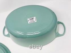 Super Rare Le Creuset SAGE Signature 6.75QT Oval Dutch Oven Cast Iron Ice Green