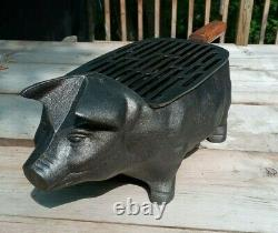 Sweet Cast Iron Pig Piggy Hibachi Grill Solid Heavy Unused in Box NIB