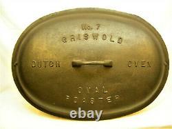 VINTAGE Antique GRISWOLD No. 7 OVAL ROASTER LID