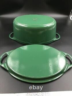 VTG Le Creuset Cousances Enamel Cast Iron Green #32 Dutch Oven With Lid/Griddle