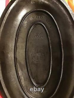 Very HTF, Beautiful Antique Cast Iron 1013C Griswold Oval Skillet Cover No. 15