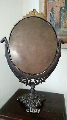Victorian Cast Iron Mirror 18 tall 19th Century c1837-1901
