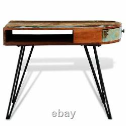 VidaXL Solid Wood Reclaimed Desk with Iron Pin Legs Writing Computer Desk