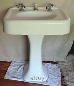 Vintage 1920s White Pedestal Porcelain Cast Iron Bathroom Sink 24 x 19 Rectangle