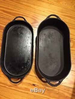 Vintage CAST IRON 3060 And 3052D Deep & Shall Fish Fryer LARGE OVAL MADE in USA