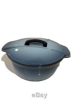 Vintage Deco Le Creuset Futura Blue Oval Cast Iron Enamel Dutch Oven #29