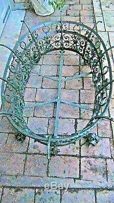 Vintage Decorative Wrough Iron Oval Large Very Ornate Coffee Table