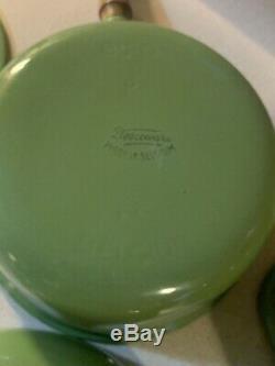 Vintage Descoware Set Oval Dutch Oven Pans Enamel Cast Iron Green Belgium FE