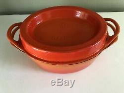 Vintage LE CREUSET ENAMELED CAST IRON Orange DOUFEU Oval DUTCH OVEN 35 9.5 QT