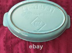 Vintage Le Creuset #20 oval cast iron Au Gratin bakers France Turquoise
