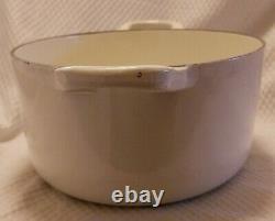 Vintage Le Creuset 25 Matte White enamel cast iron oval dutch oven pot 3.5 q